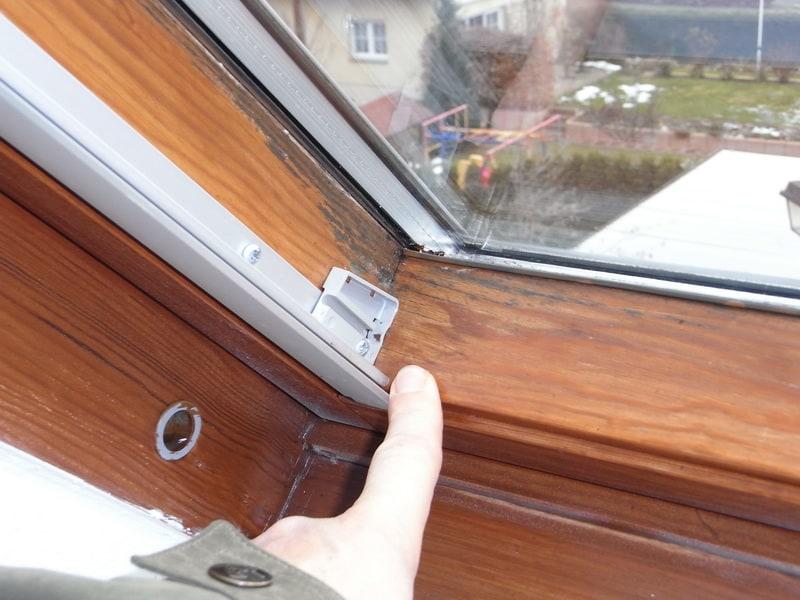 schwarzer schimmelpilz am Rahmen Kosten der Sanierung Dachflächenfenster Dachfenster Velux, Schwitzwasser, Kondensat