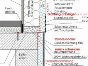 Bodenschwelle bei Bauabschnittsbegleitung Fertigteilhaus Abdichtung Bodenschwelle Fertighaus