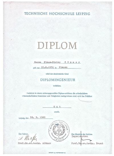 Diplom Urkunde Dipl. Ing. Schmalfuss