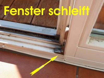 Fenstergutachter, Gutachten Holzfenster Balkontür klemmt, geht nicht auf schleift, Rahmen klemmen, hängen, schleifen, Fenstereinbau